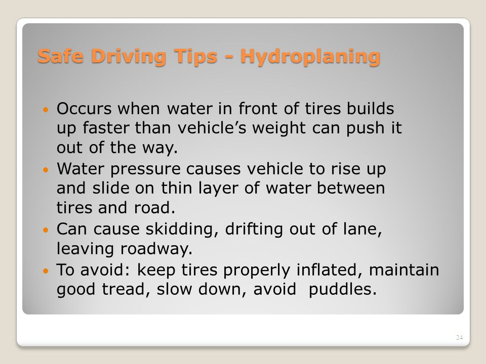 Safe Driving Tips - Hydroplaning