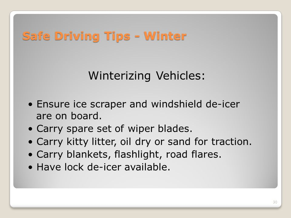 Safe Driving Tips - Winter