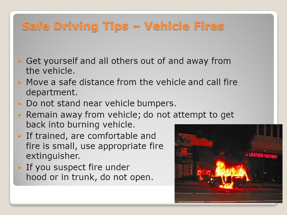 Safe Driving Tips – Vehicle Fires