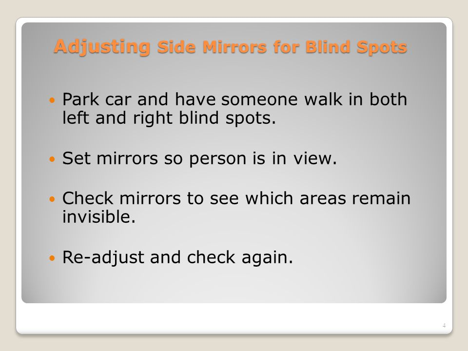 Adjusting Side Mirrors for Blind Spots