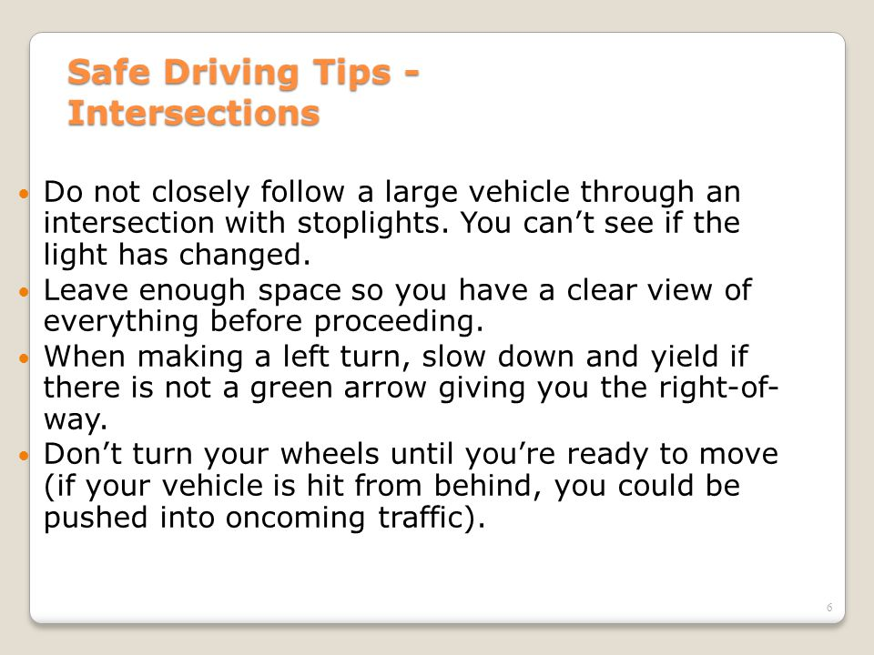 Safe Driving Tips - Intersections