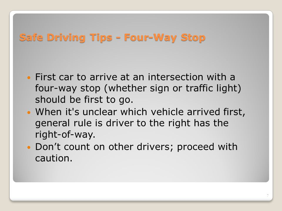 Safe Driving Tips - Four-Way Stop