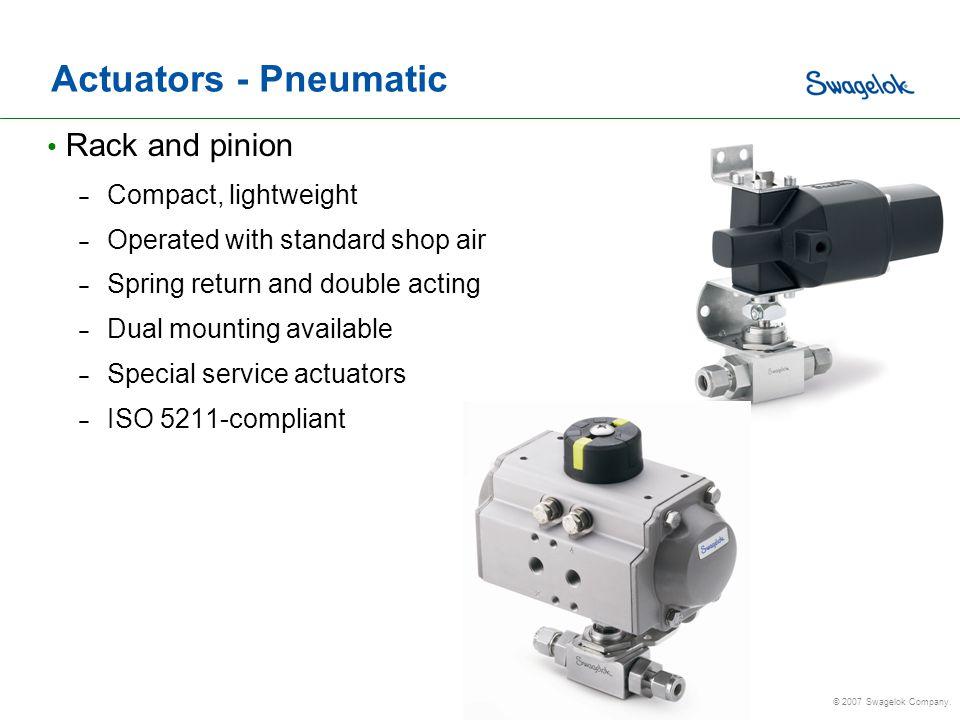 Actuators - Pneumatic Rack and pinion Compact, lightweight