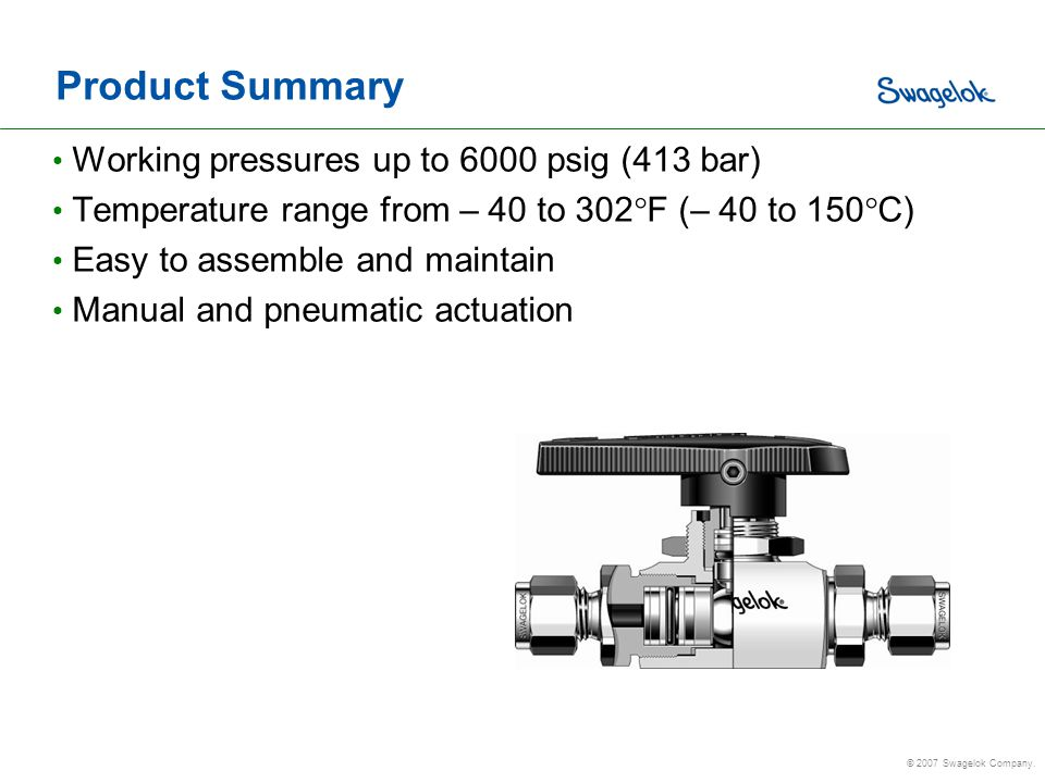 Product Summary Working pressures up to 6000 psig (413 bar)