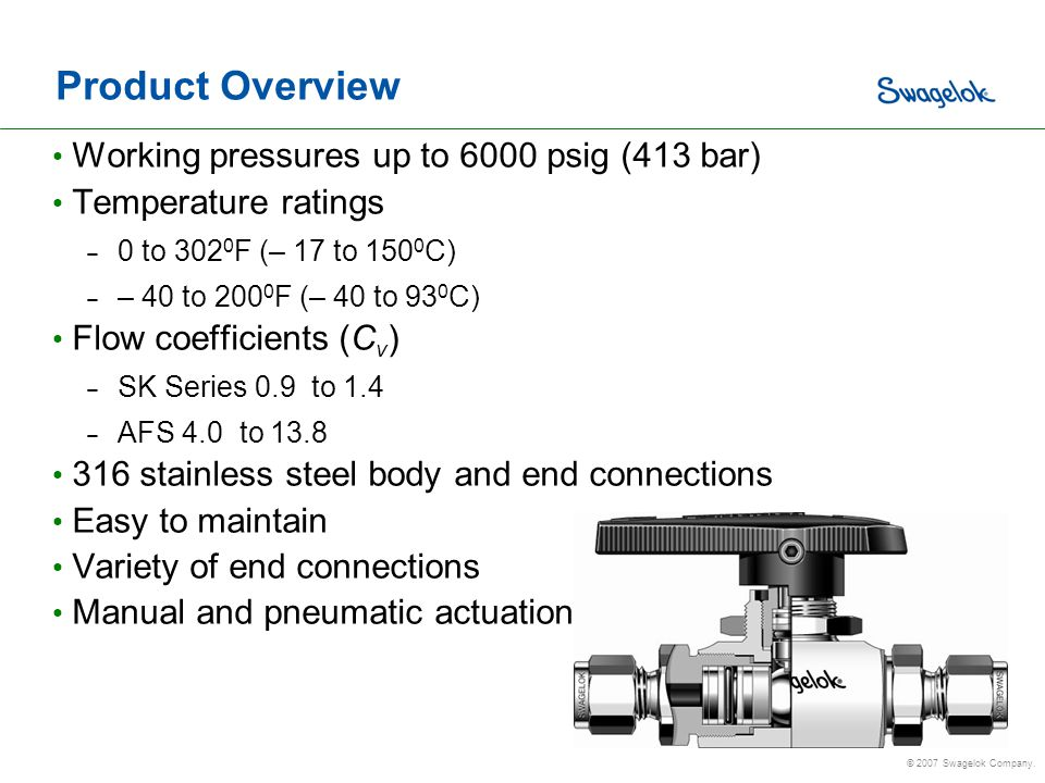 Product Overview Working pressures up to 6000 psig (413 bar)