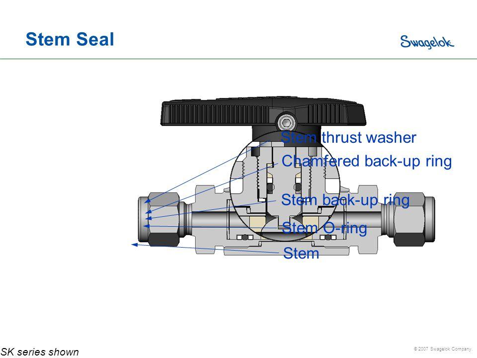 Stem Seal Stem thrust washer Chamfered back-up ring Stem back-up ring
