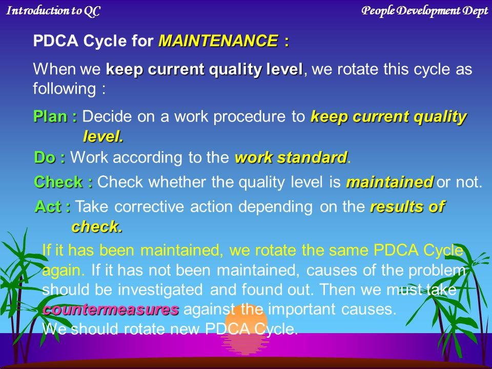 PDCA Cycle for MAINTENANCE :