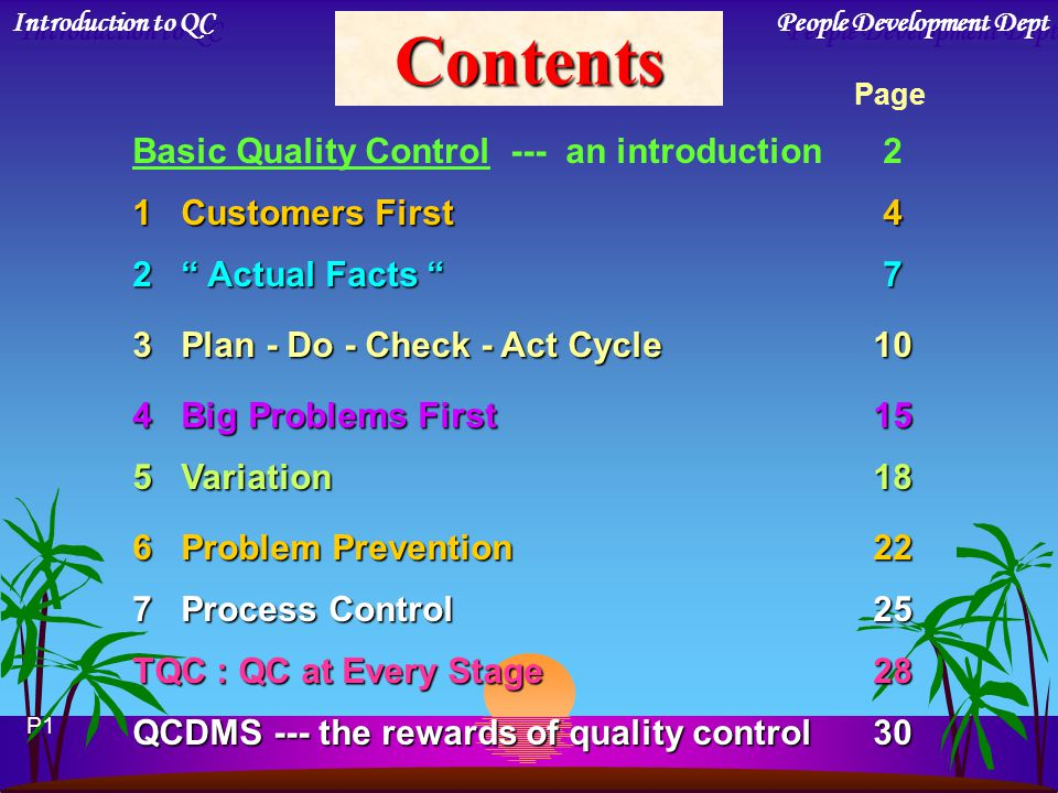 Contents Basic Quality Control --- an introduction 2