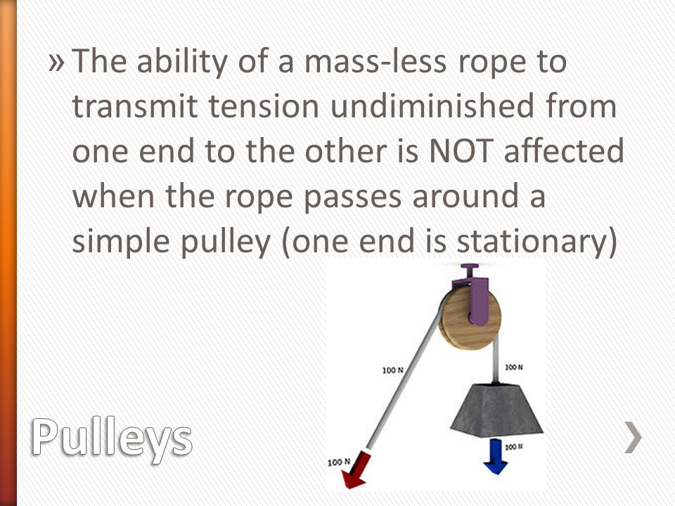 The ability of a mass-less rope to transmit tension undiminished from one end to the other is NOT affected when the rope passes around a simple pulley (one end is stationary)