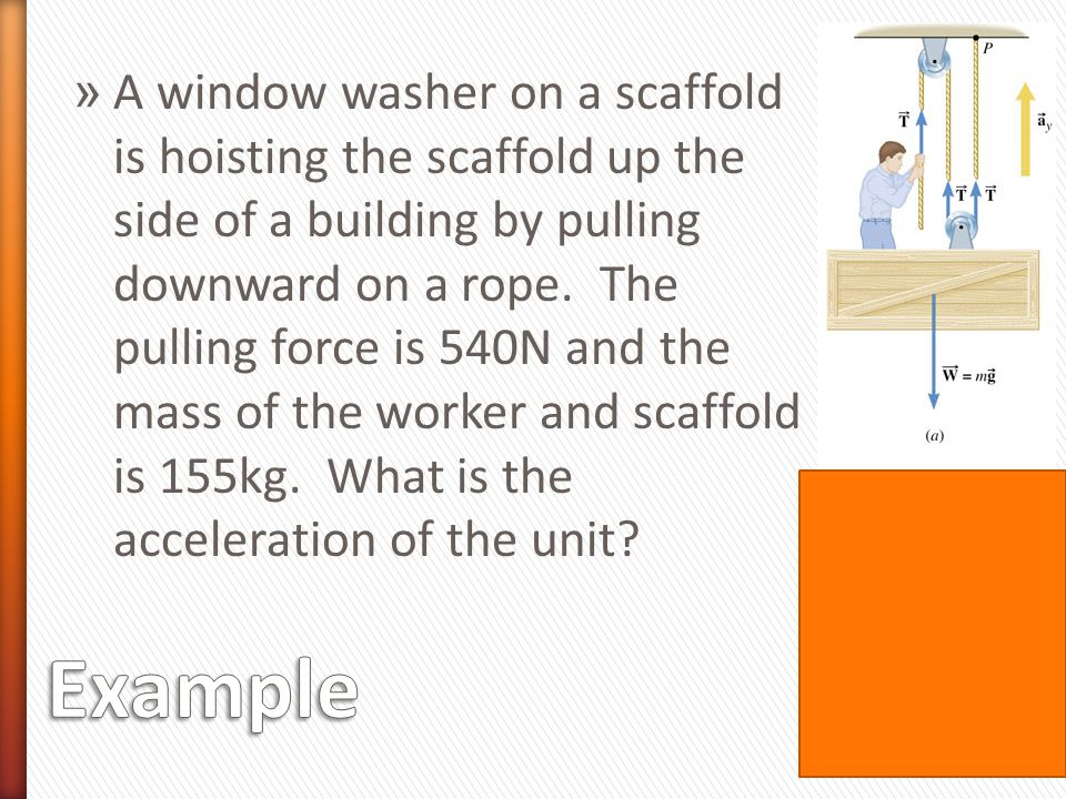 A window washer on a scaffold is hoisting the scaffold up the side of a building by pulling downward on a rope. The pulling force is 540N and the mass of the worker and scaffold is 155kg. What is the acceleration of the unit