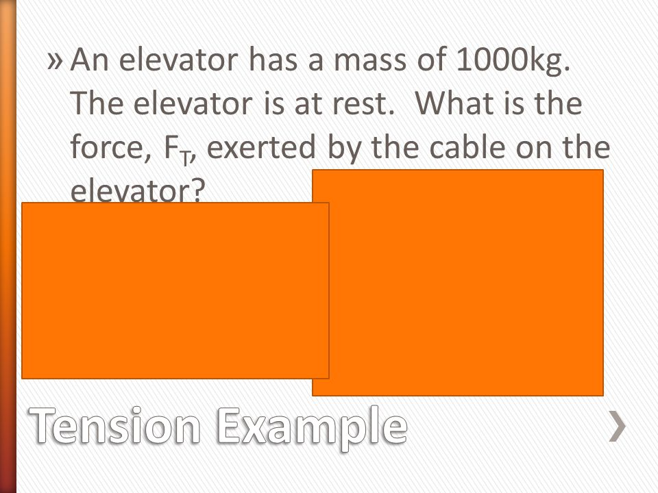 An elevator has a mass of 1000kg. The elevator is at rest