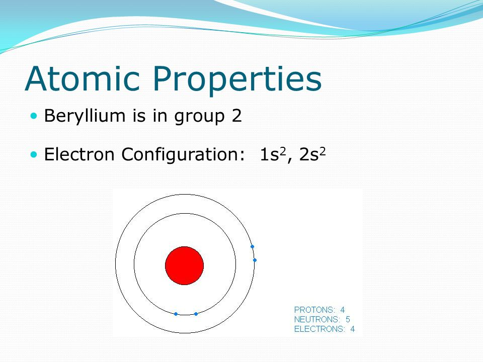 Atomic Properties Beryllium is in group 2