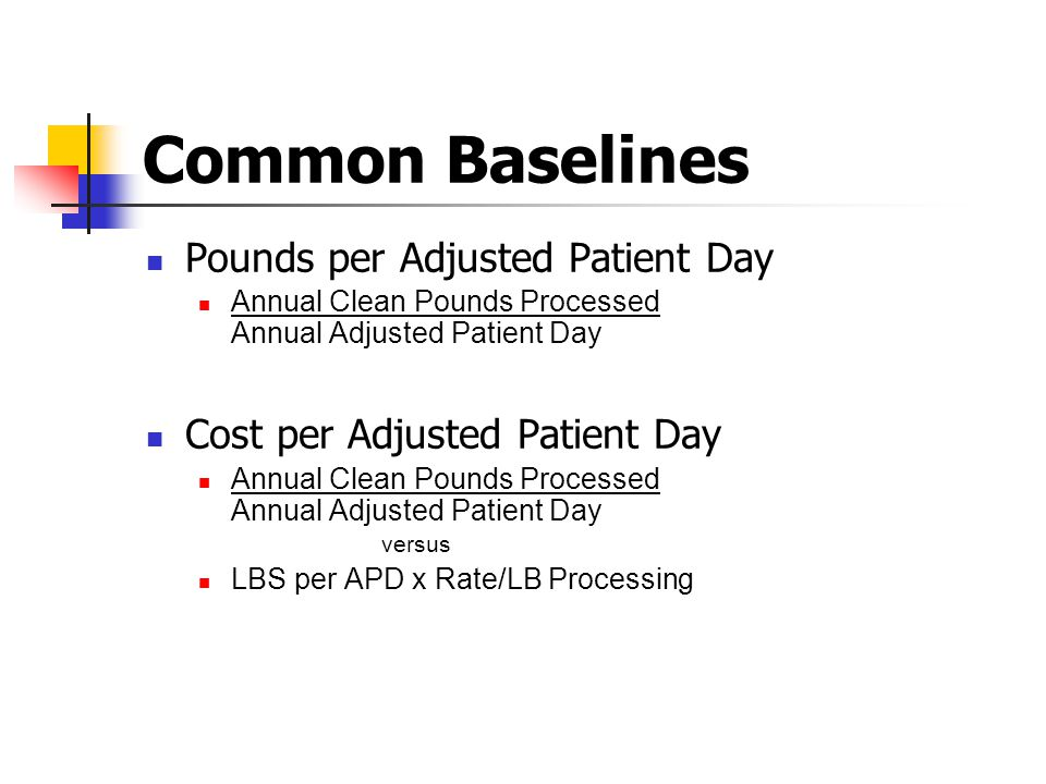 Common Baselines Pounds per Adjusted Patient Day
