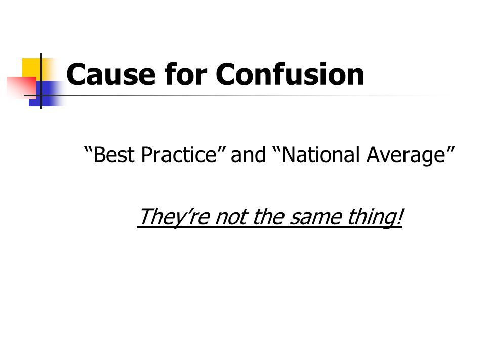Cause for Confusion Best Practice and National Average