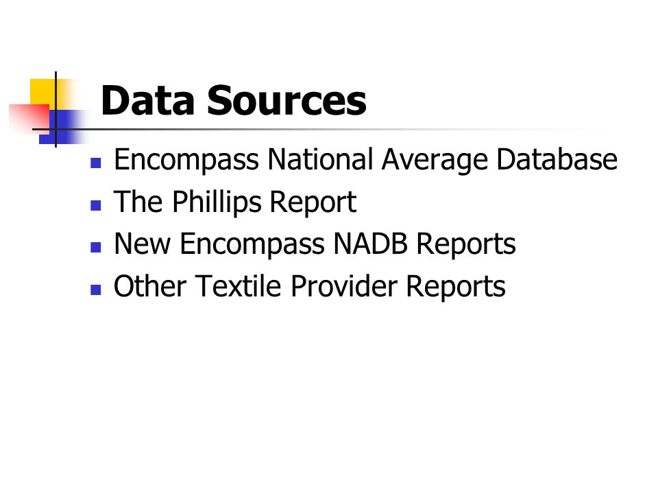 Data Sources Encompass National Average Database The Phillips Report