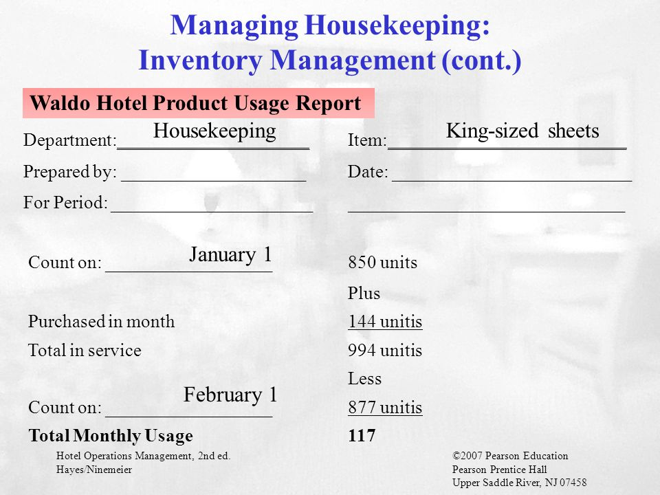Managing Housekeeping: Inventory Management (cont.)