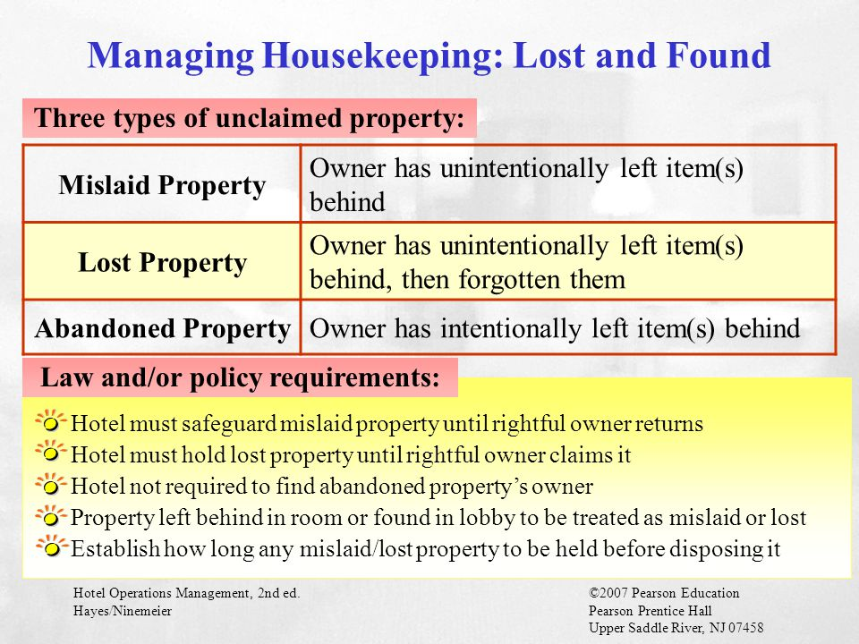 Managing Housekeeping: Lost and Found