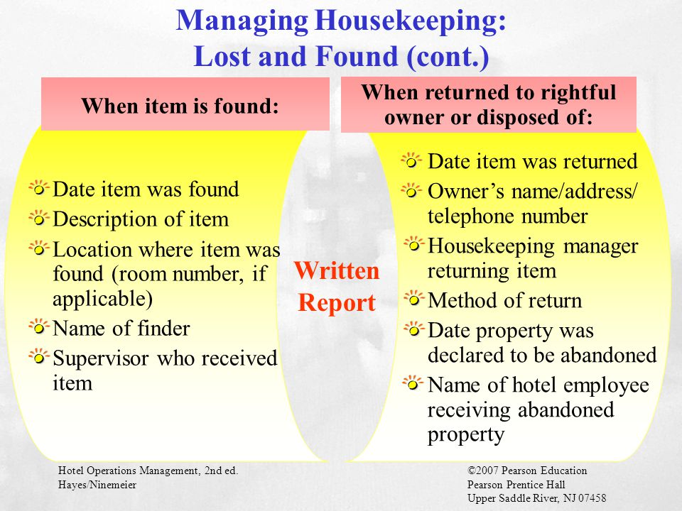 Managing Housekeeping: Lost and Found (cont.)