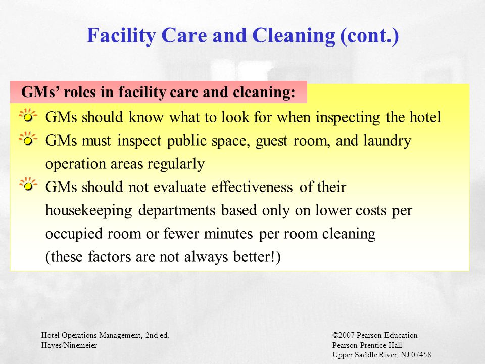 Facility Care and Cleaning (cont.)