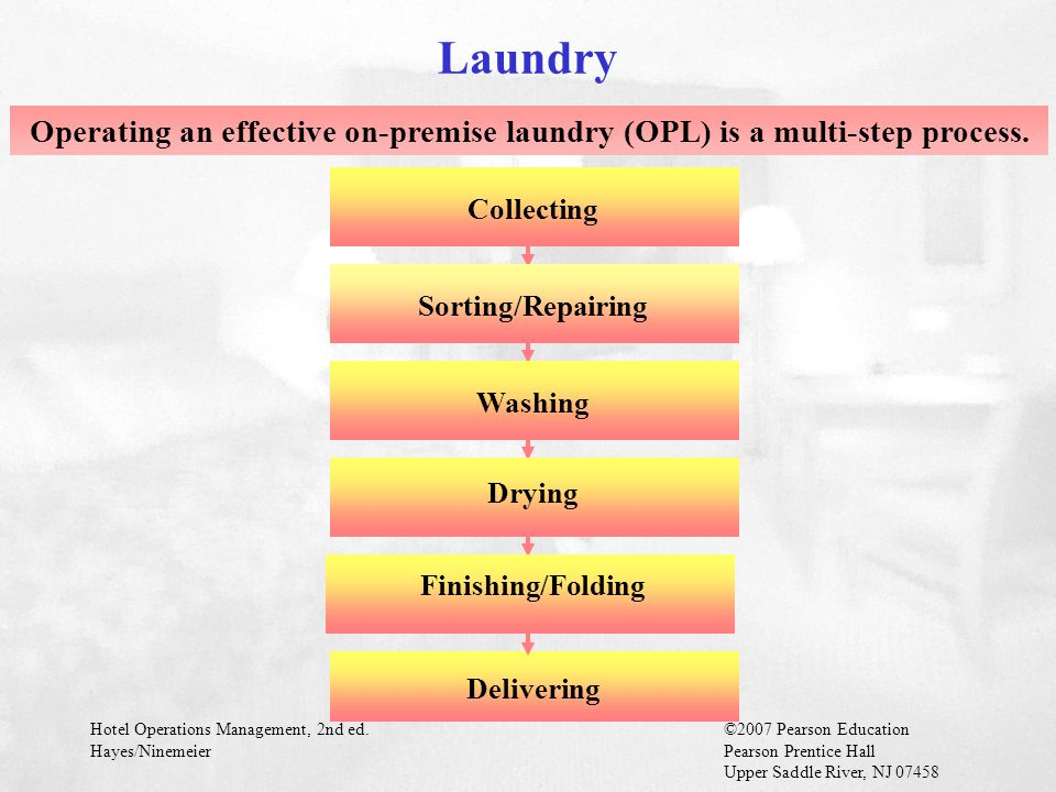 Laundry Operating an effective on-premise laundry (OPL) is a multi-step process. Collecting. Sorting/Repairing.