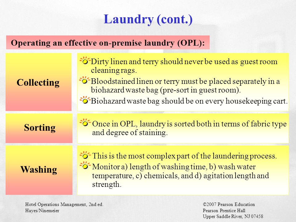 Operating an effective on-premise laundry (OPL):