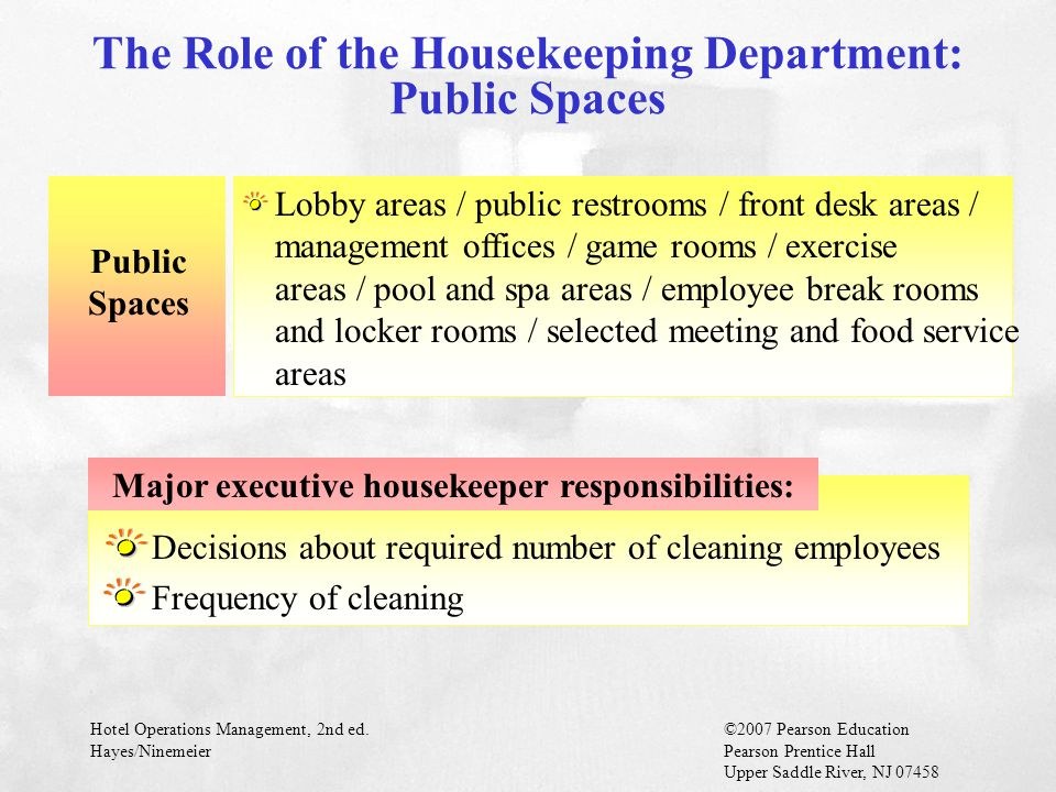 The Role of the Housekeeping Department: Public Spaces