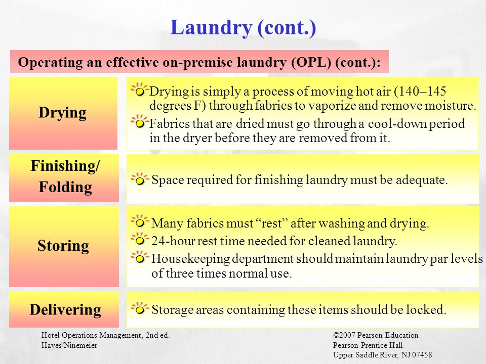 Operating an effective on-premise laundry (OPL) (cont.):