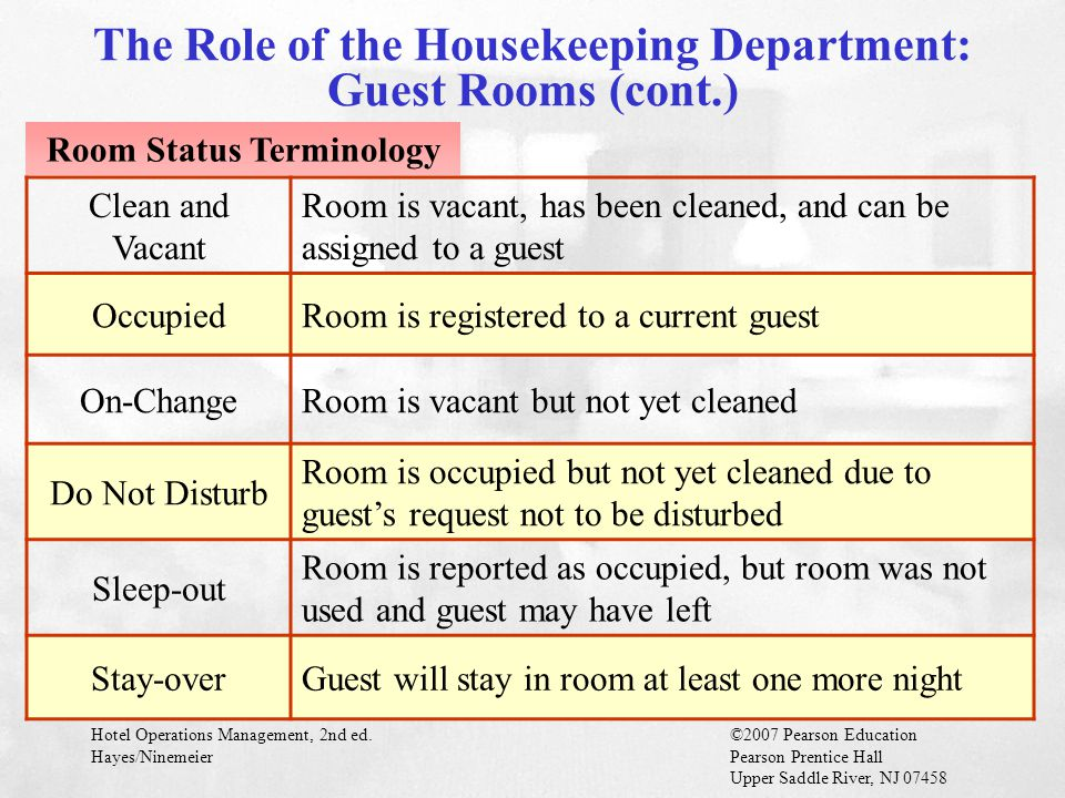 The Role of the Housekeeping Department: Guest Rooms (cont.)