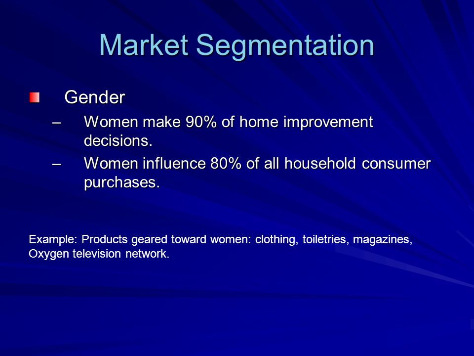 Market Segmentation Gender