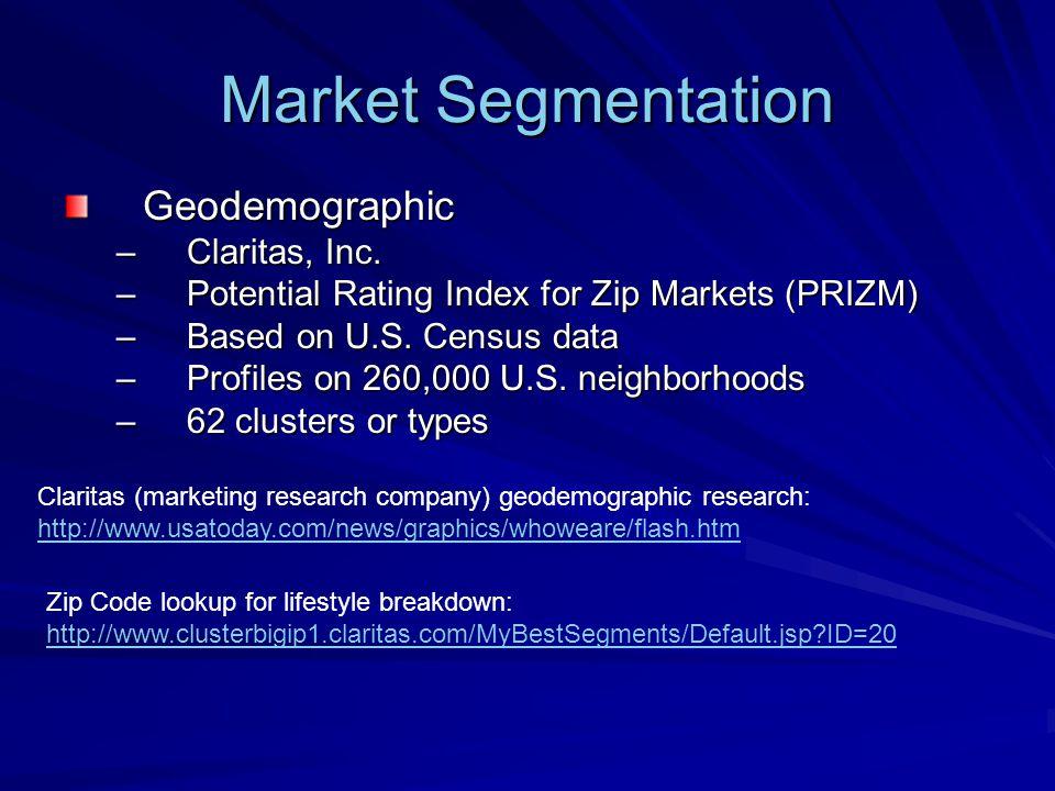 Market Segmentation Geodemographic Claritas, Inc.