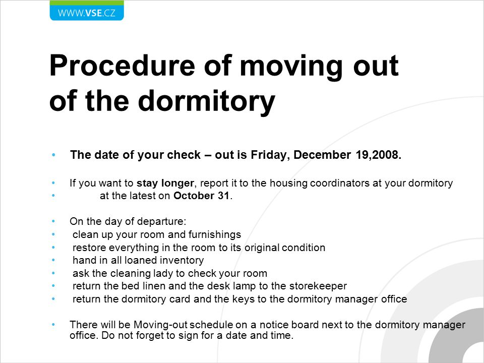 Procedure of moving out of the dormitory