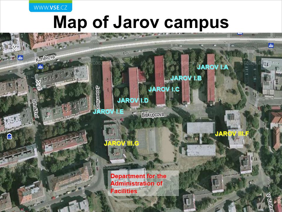 Map of Jarov campus JAROV I.A JAROV I.B JAROV I.C JAROV I.D JAROV I.E