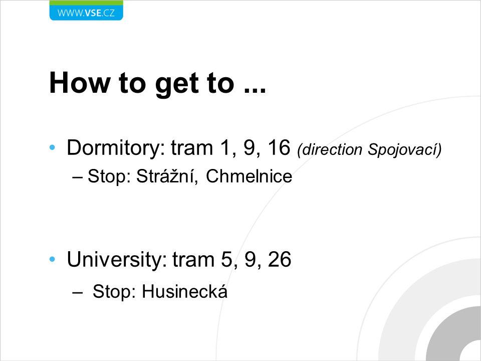 How to get to ... Dormitory: tram 1, 9, 16 (direction Spojovací)