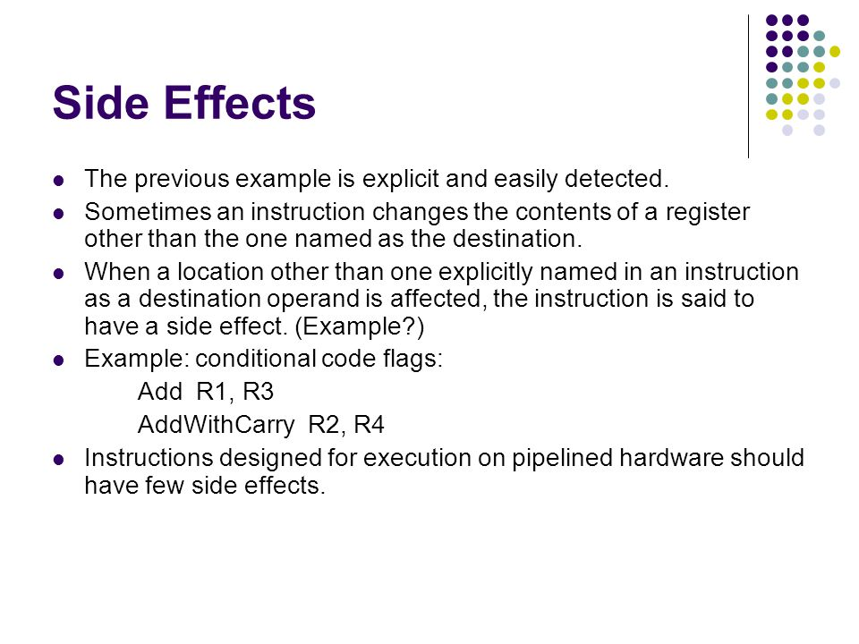 Side Effects The previous example is explicit and easily detected.