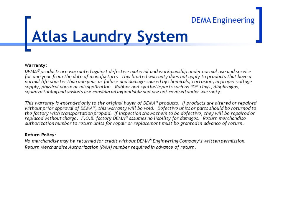 Atlas Laundry System DEMA Engineering Warranty: