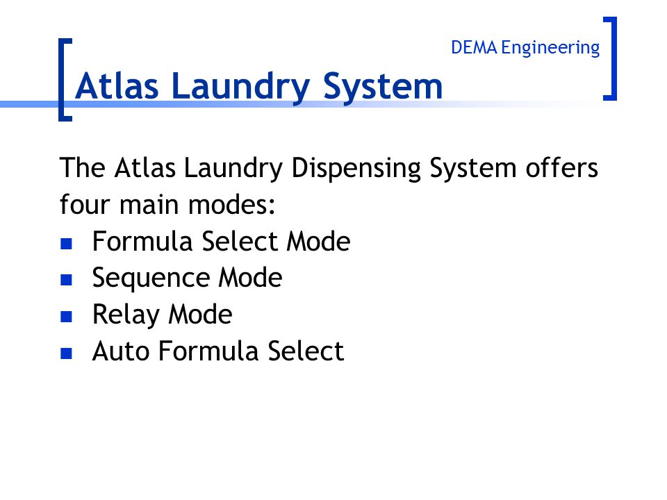 Atlas Laundry System The Atlas Laundry Dispensing System offers