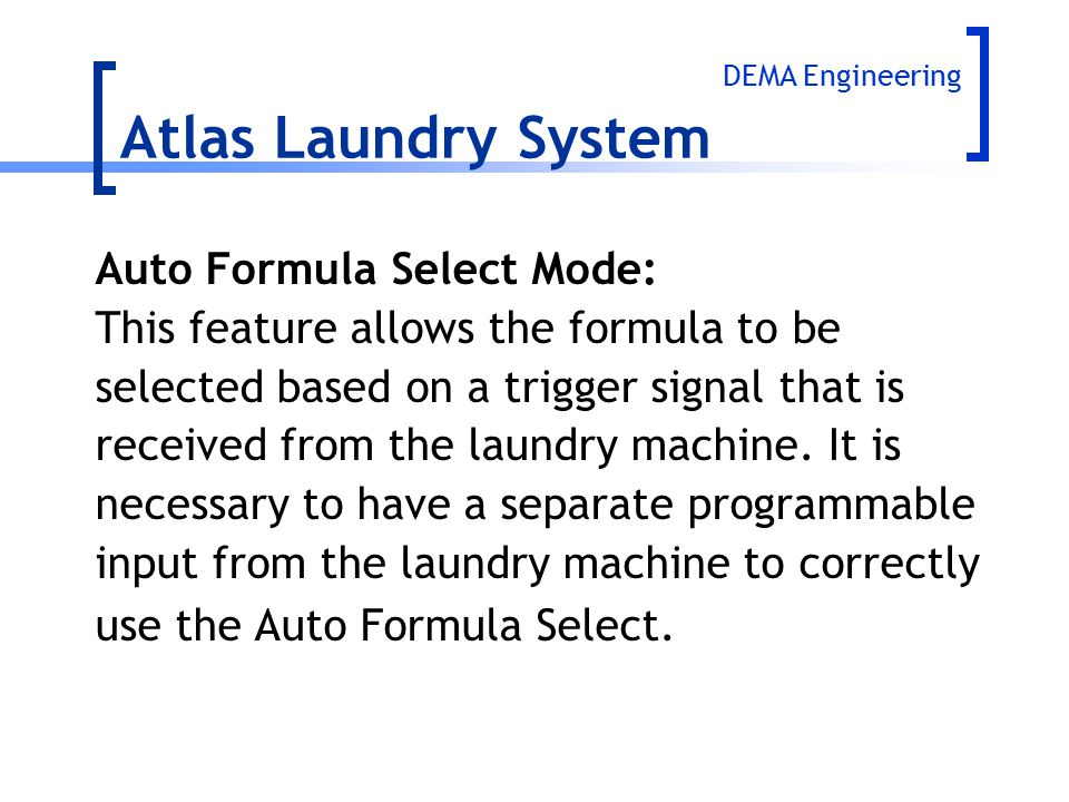 Atlas Laundry System Auto Formula Select Mode: