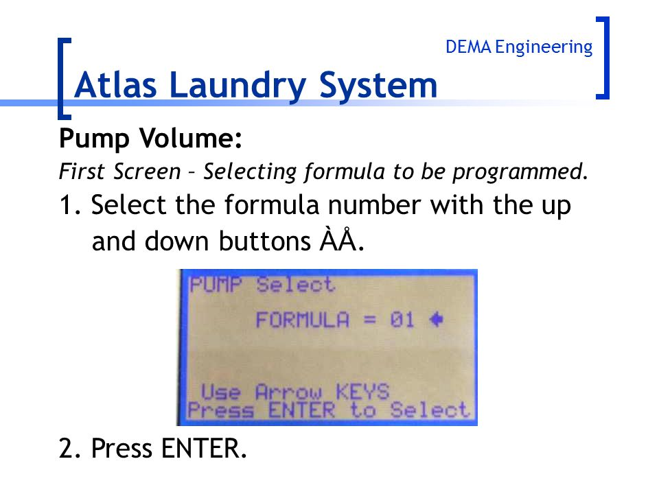 Atlas Laundry System Pump Volume: