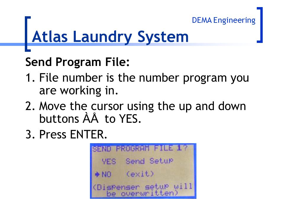 Atlas Laundry System Send Program File:
