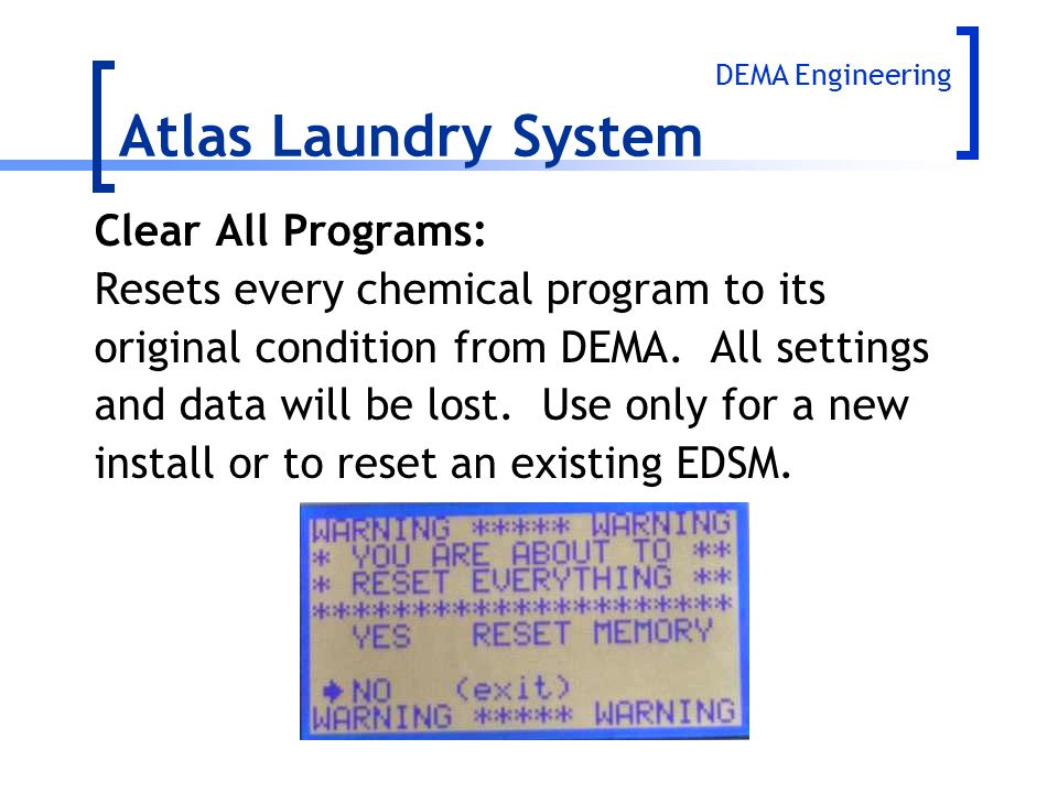 Atlas Laundry System Clear All Programs: