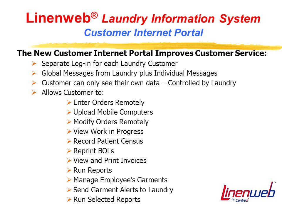 Linenweb® Laundry Information System Customer Internet Portal