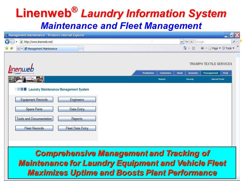 Linenweb® Laundry Information System Maintenance and Fleet Management