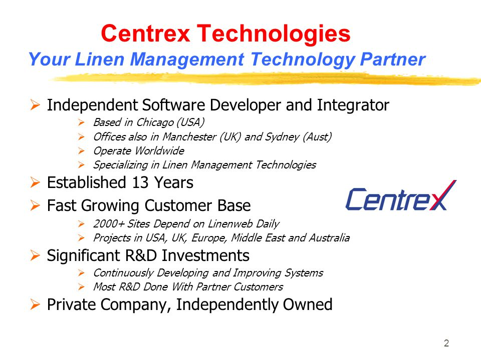 Centrex Technologies Your Linen Management Technology Partner