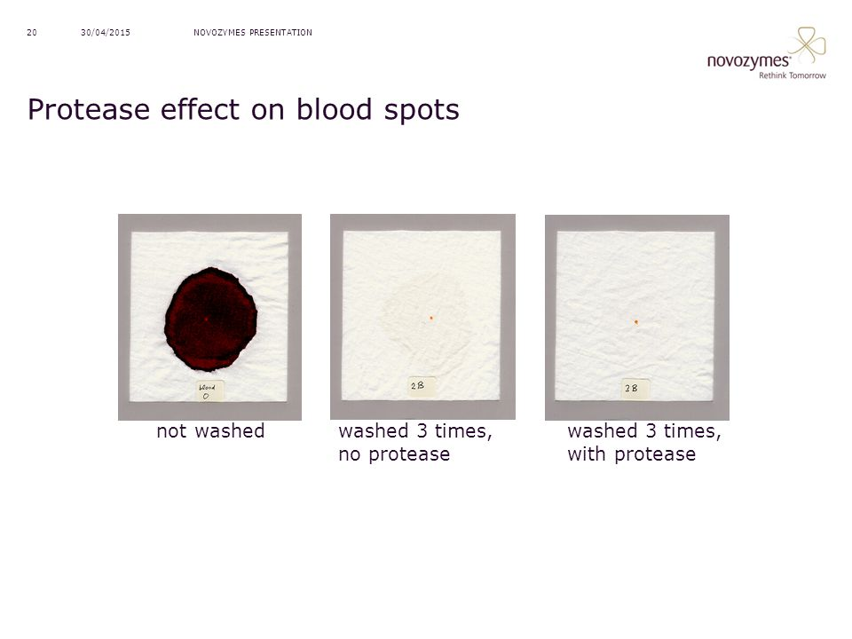 Protease effect on blood spots