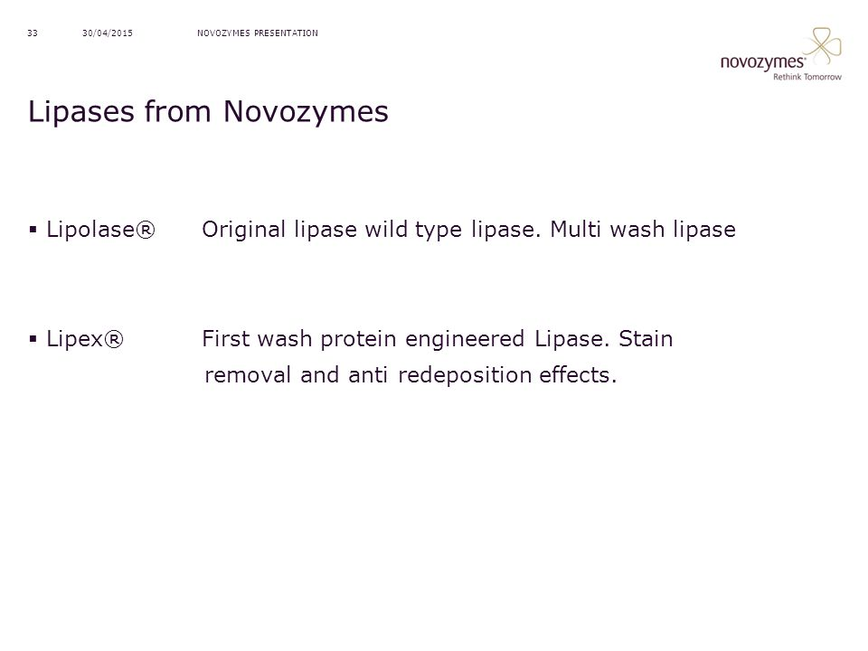 Lipases from Novozymes