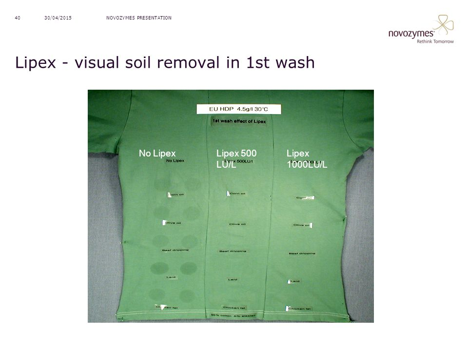 Lipex - visual soil removal in 1st wash