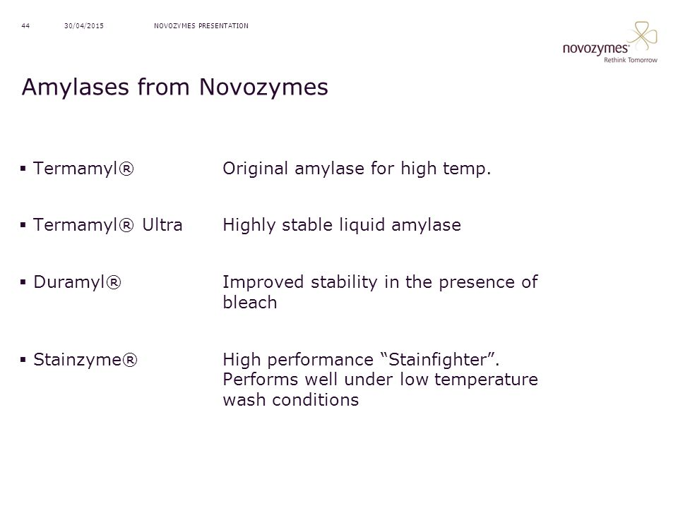 Amylases from Novozymes