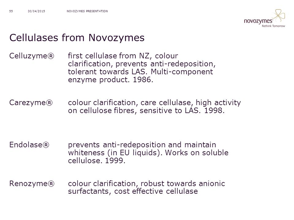 Cellulases from Novozymes