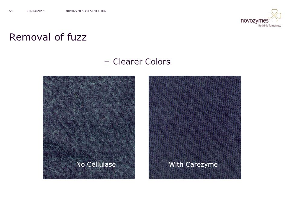 Removal of fuzz = Clearer Colors With Carezyme No Cellulase 13/04/2017