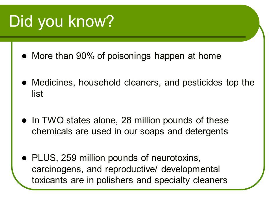Did you know More than 90% of poisonings happen at home